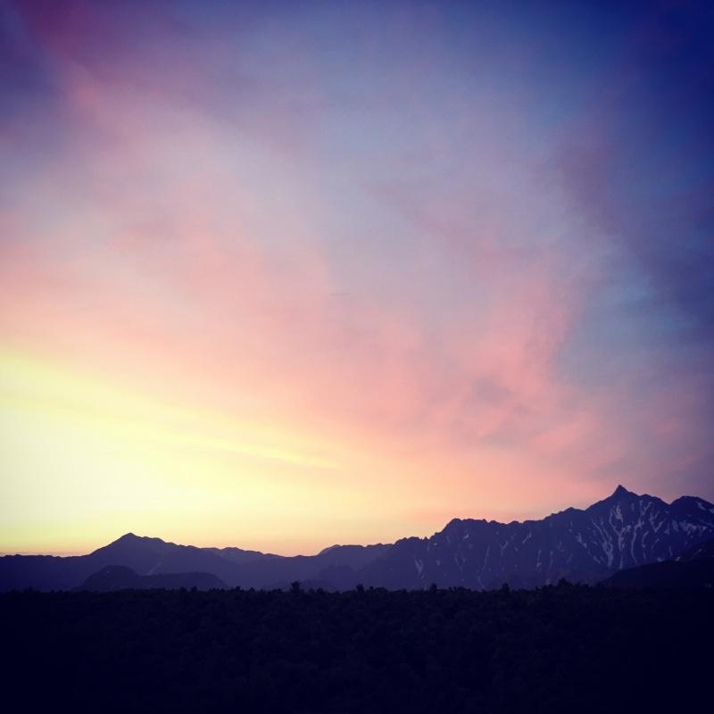 朝焼けの槍ヶ岳